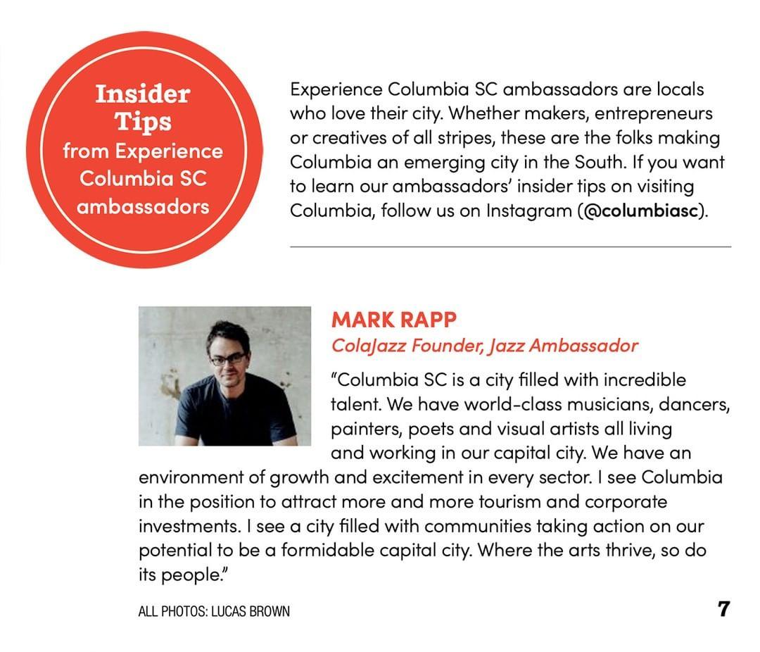 Mark Rapp Columbia SC Jazz Ambassador