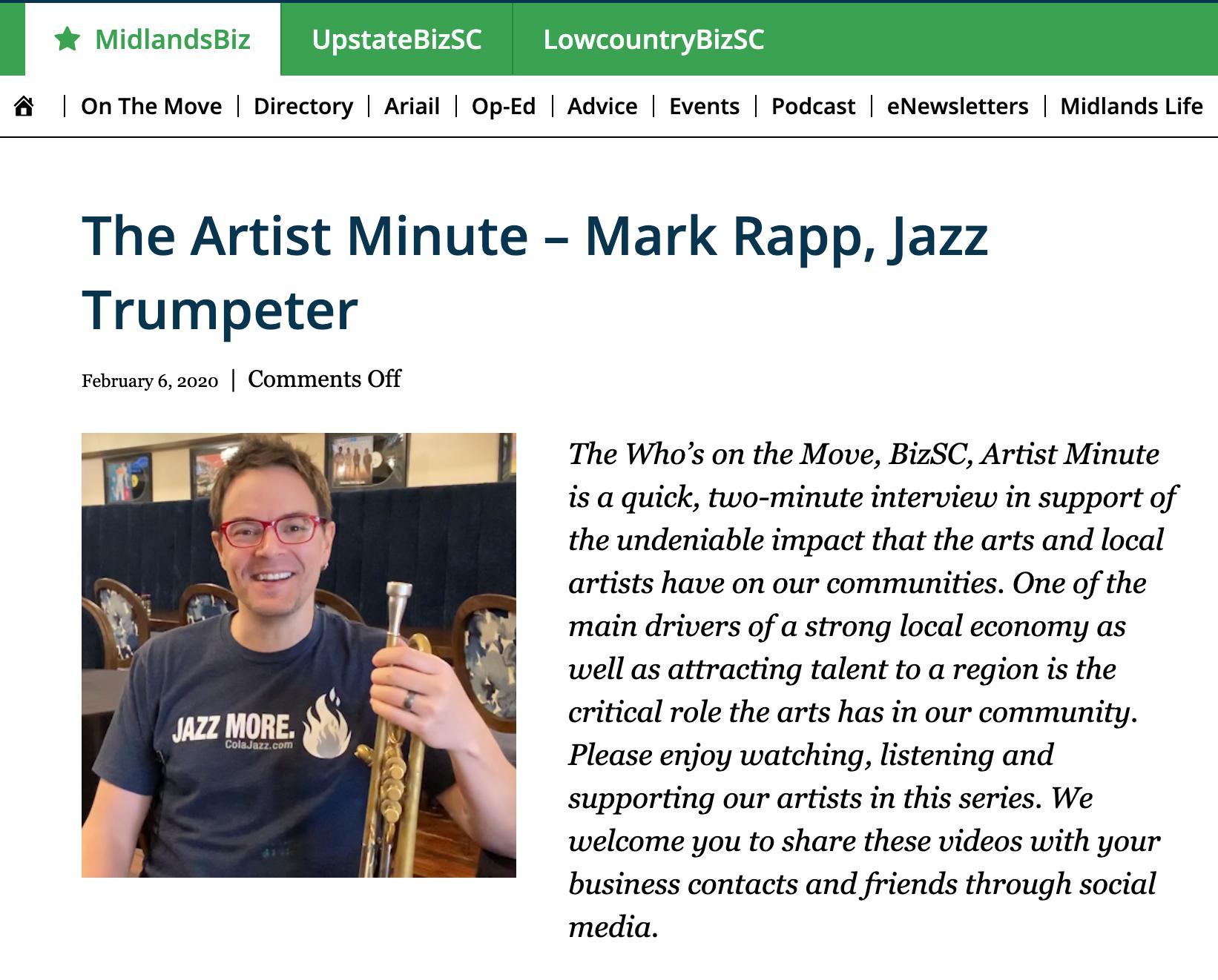 The Artist Minute – Mark Rapp, Jazz Trumpeter