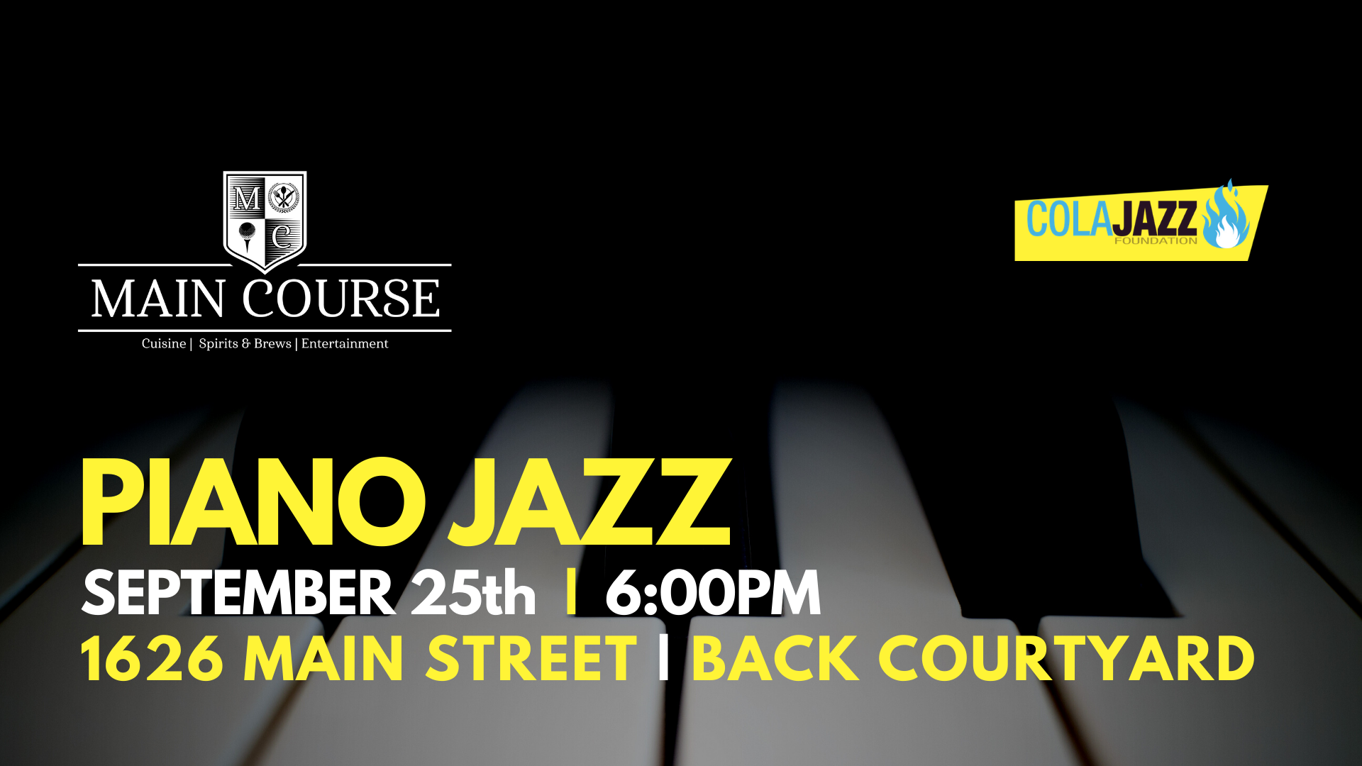 Pianist Morgan McGee continues to bring jazz alive at the Main Course's back courtyard on September 25, the last Friday of this month. Safe, outdoors with great food and beverages. Enjoy!